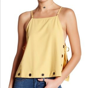 Yellow Free People Cropped Tank